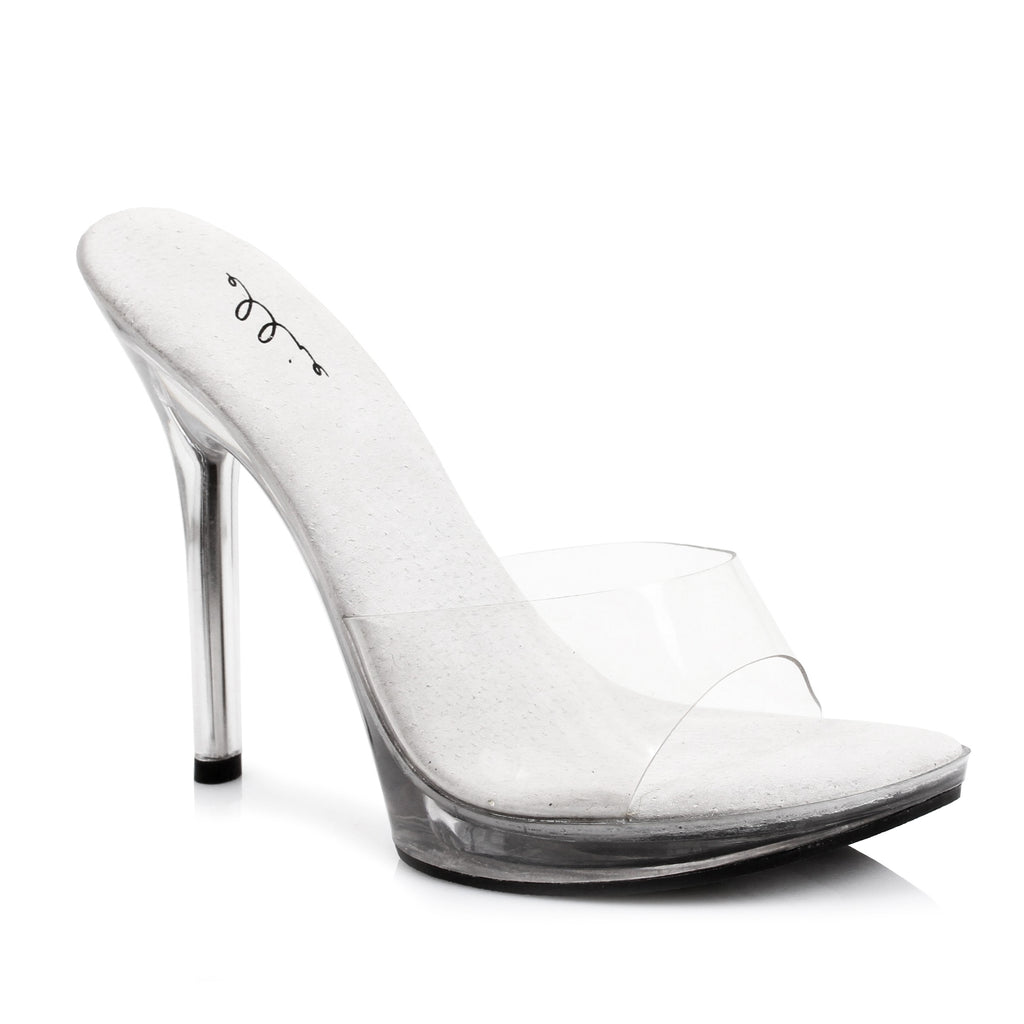 Ellie 5 Inch Stiletto Heel Clear Slide In Mule With Platform