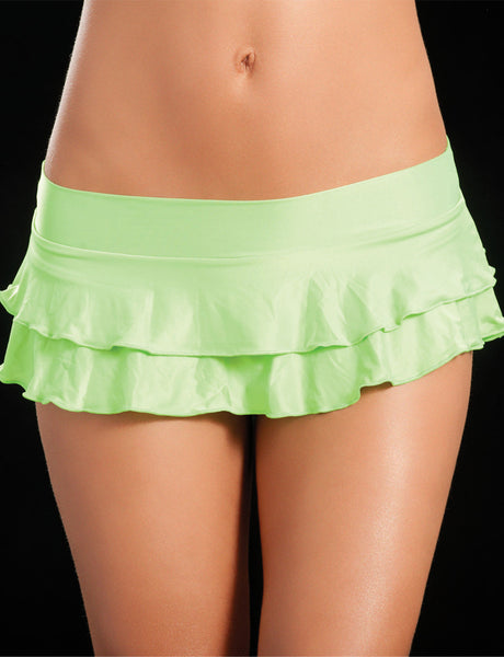 Double Layered Neon Green Ruffle Skirt