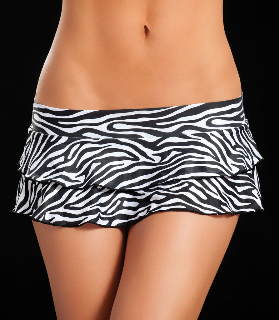 Double Layered Zebra Animal Print Ruffle Skirt