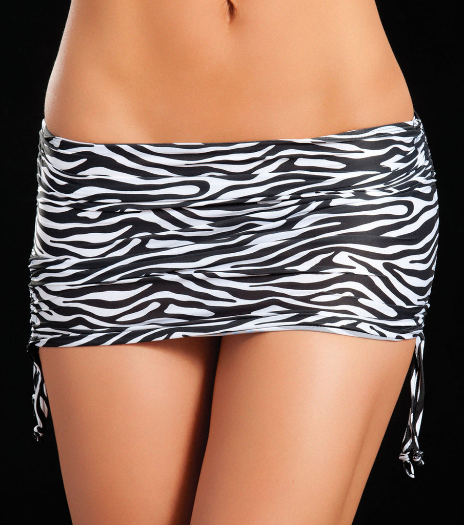 Zebra Black/White Animal Print Micro Mini Skirt
