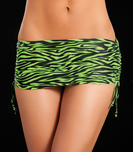 Zebra Green Animal Print Micro Mini Skirt