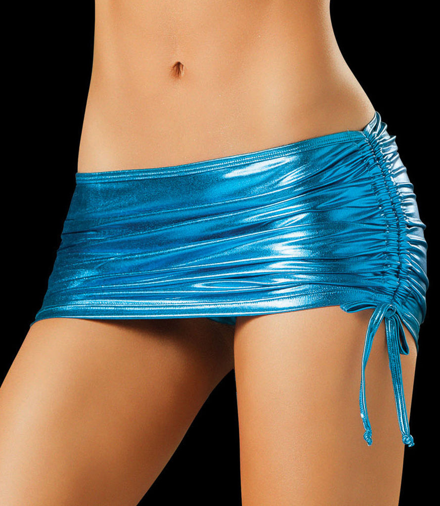 Metallic Blue Micro Mini Skirt