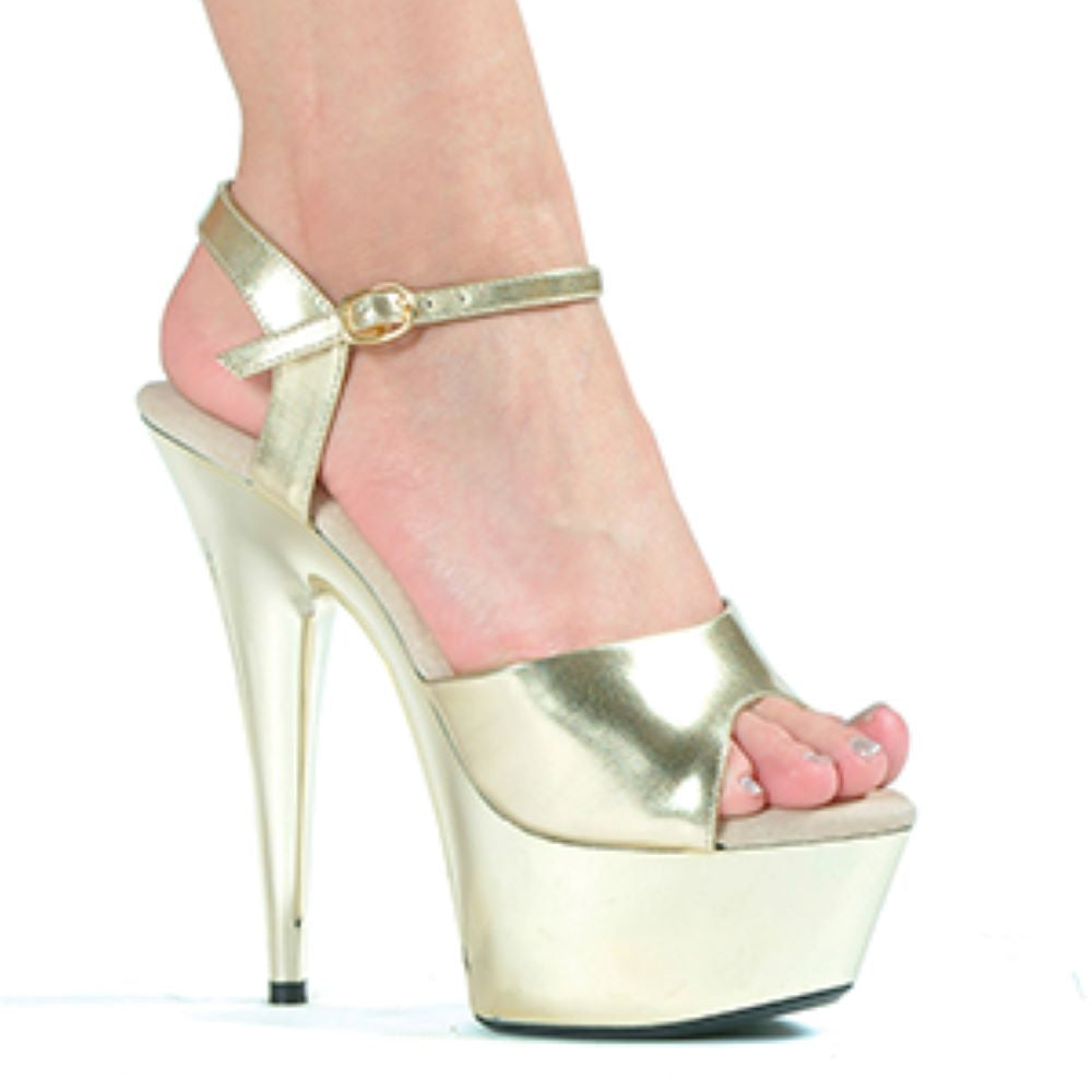 Sexy Stripper Peep Toe Sandal With Chrome Platform