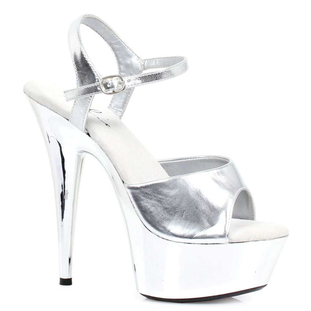 Sexy Stripper Peep Toe Sandal With Silver Chrome Platform