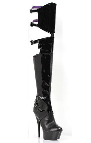 Thigh High Stretch Patent With 6 Inch Pointed Stiletto Heel