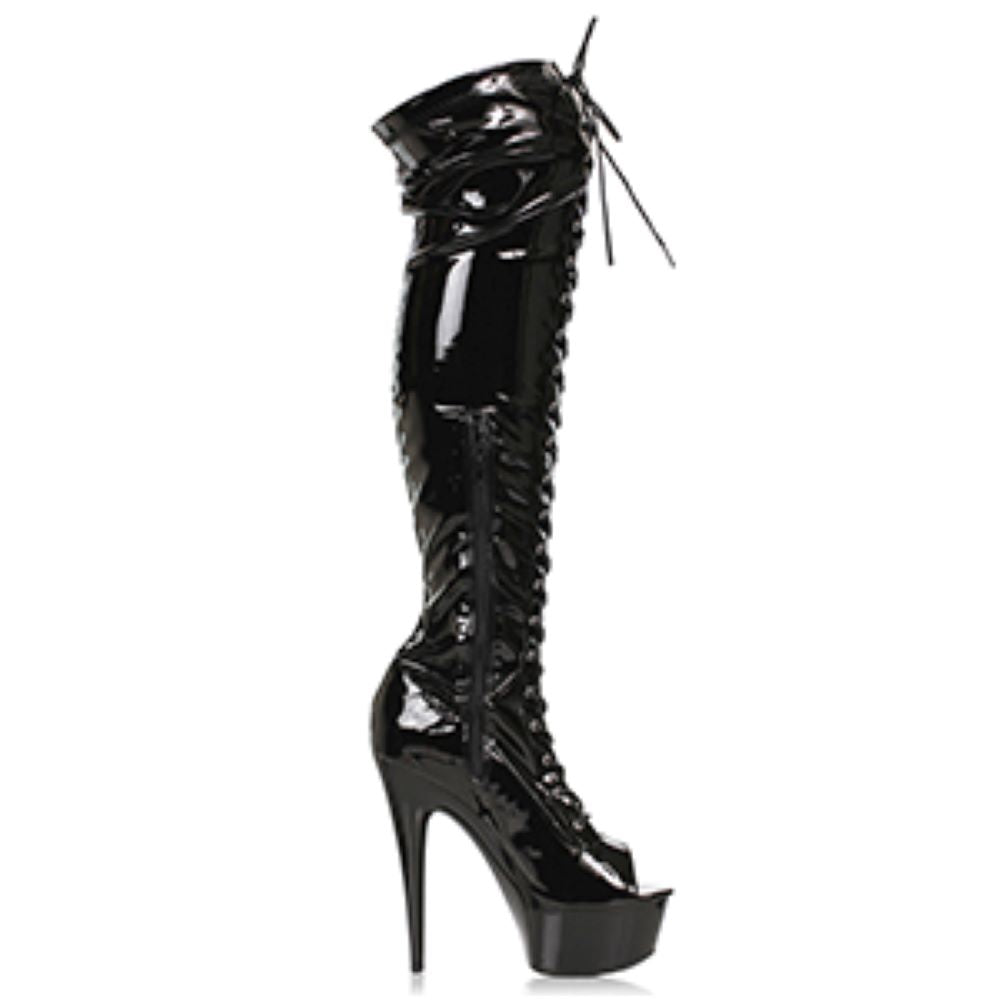 Peep Toe Thigh High Platform Boot With Front Lace Up And Side Zipper