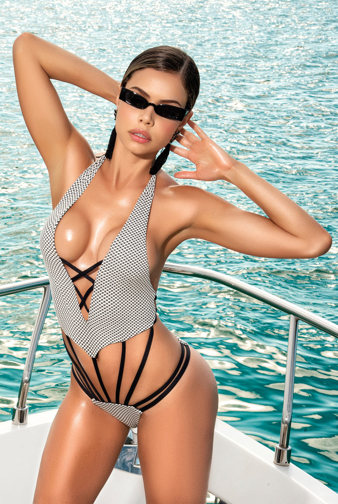 Cage Style Monokini With Plunging Neckline