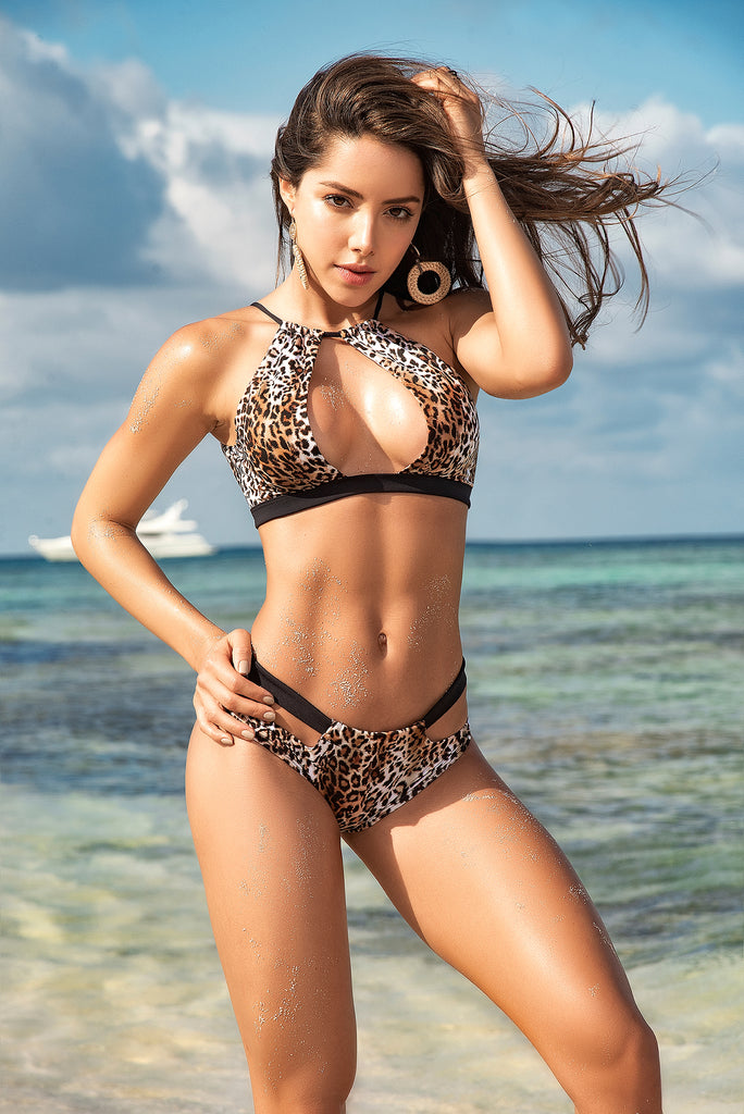 Two Piece Leopard Swimsuit Full Bottom
