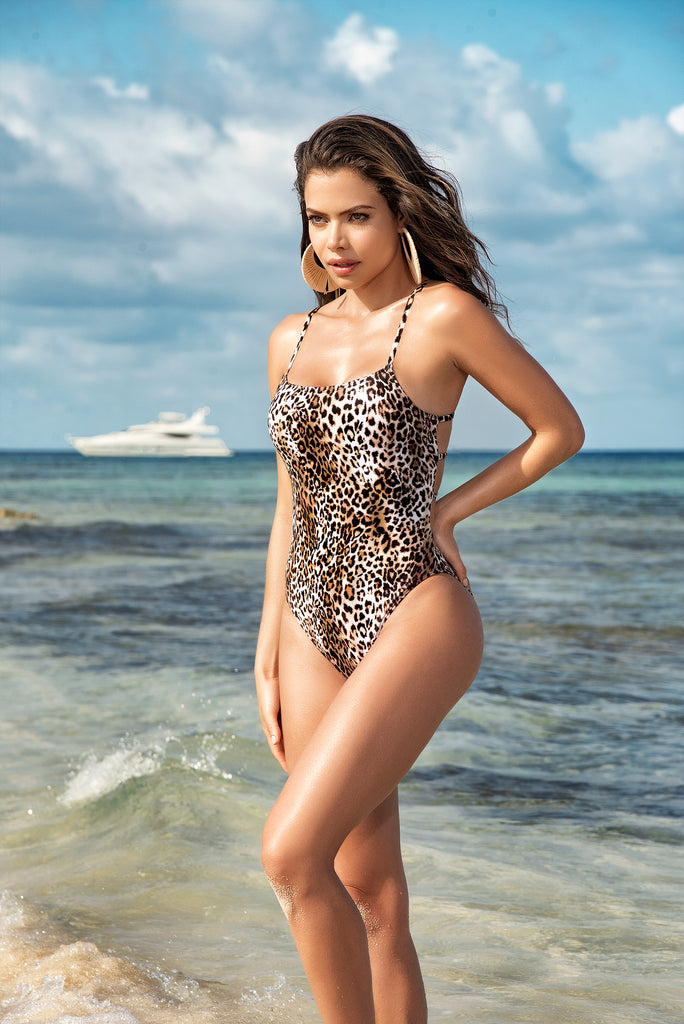 Classic Leopard Print One Piece Swimsuit