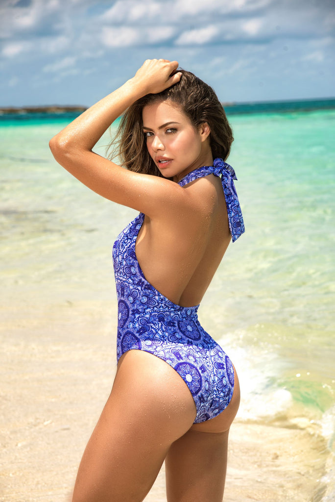 One Piece Swimsuit Features Plunging Neckline