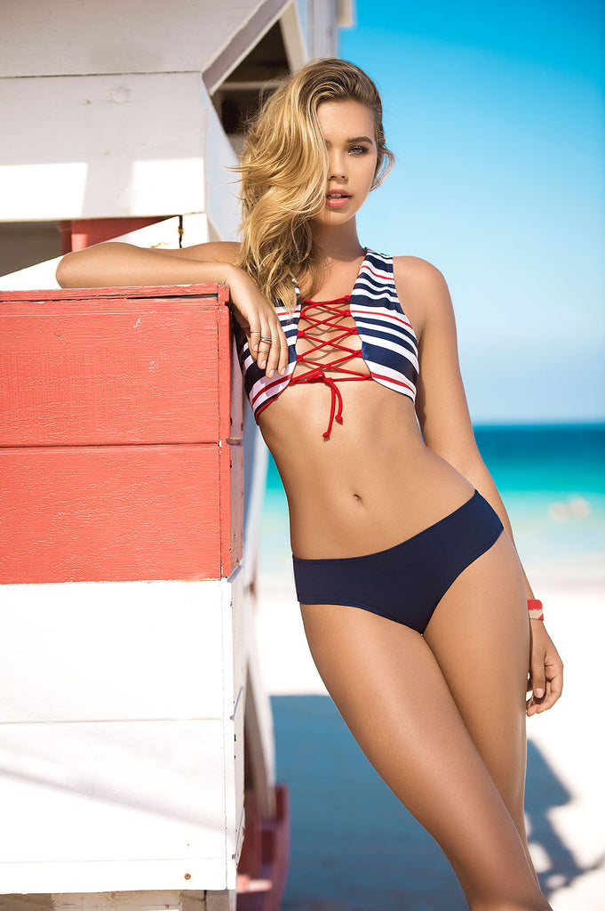 Nautical Striped Bikini Set- Mapale Swimwear