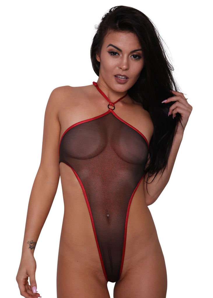 Sheer Metallic Red Mesh Monokini - Sheer Clothing