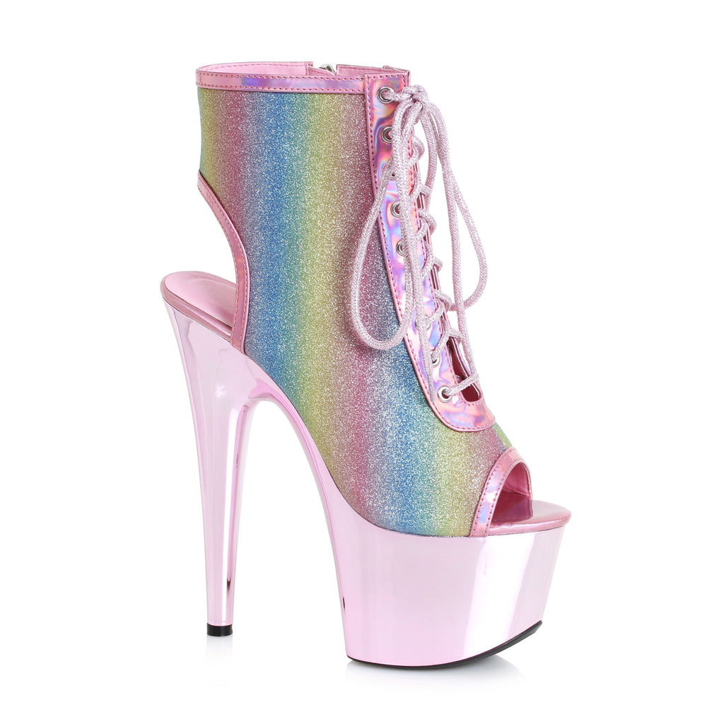 Rainbow Ankle Boots 7 Inch Heel Stripper Boots