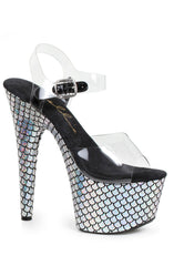 Silver Mermaid Ankle Strap Sandal With 7 Inch Stilletto Heels-Stripper Shoes