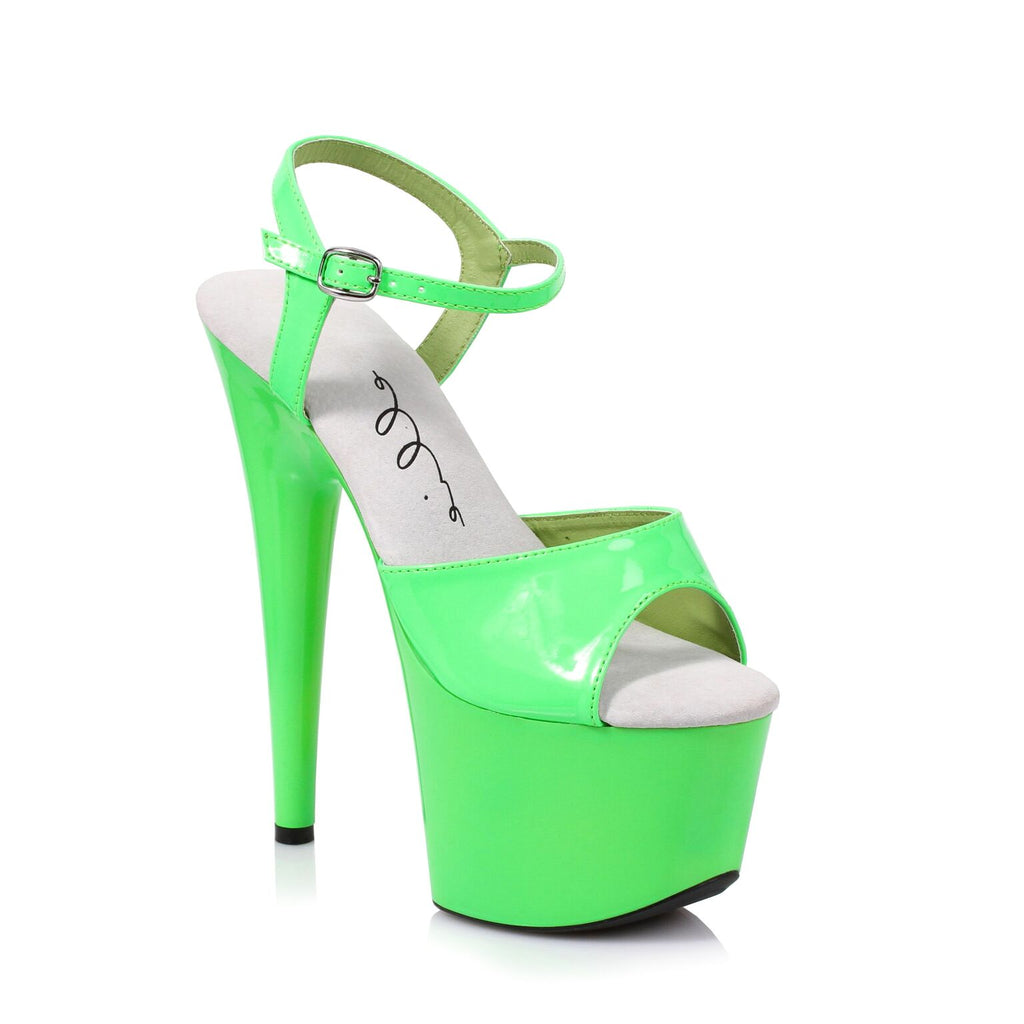 Green Neon Ankle Strap Sandal 7 Inch Stiletto Heels Stripper Shoes