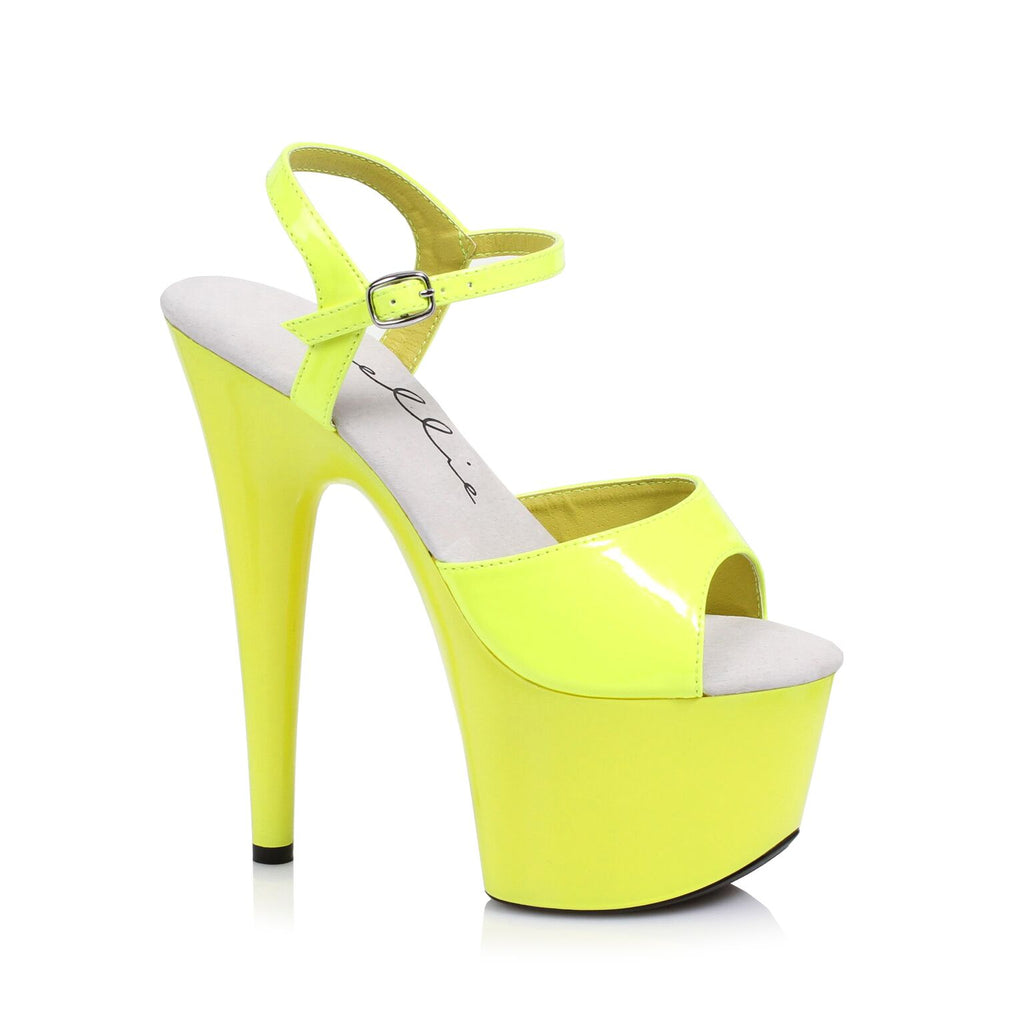 Yellow Neon Ankle Strap Sandal 7 Inch Stiletto Heels Stripper Shoes