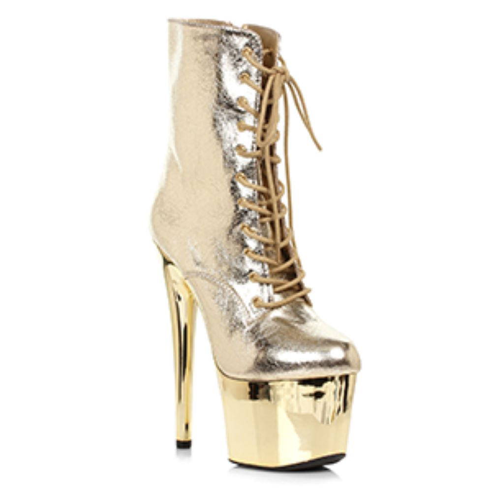 Gold Platform Ankle Boots With Gold Chrome Platform Miami Stripper Boots