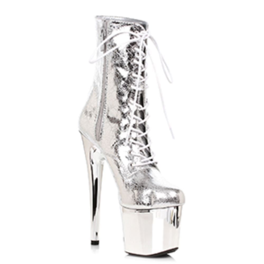 Silver Platform Ankle Boots With Gold Chrome Platform Miami Stripper Boots