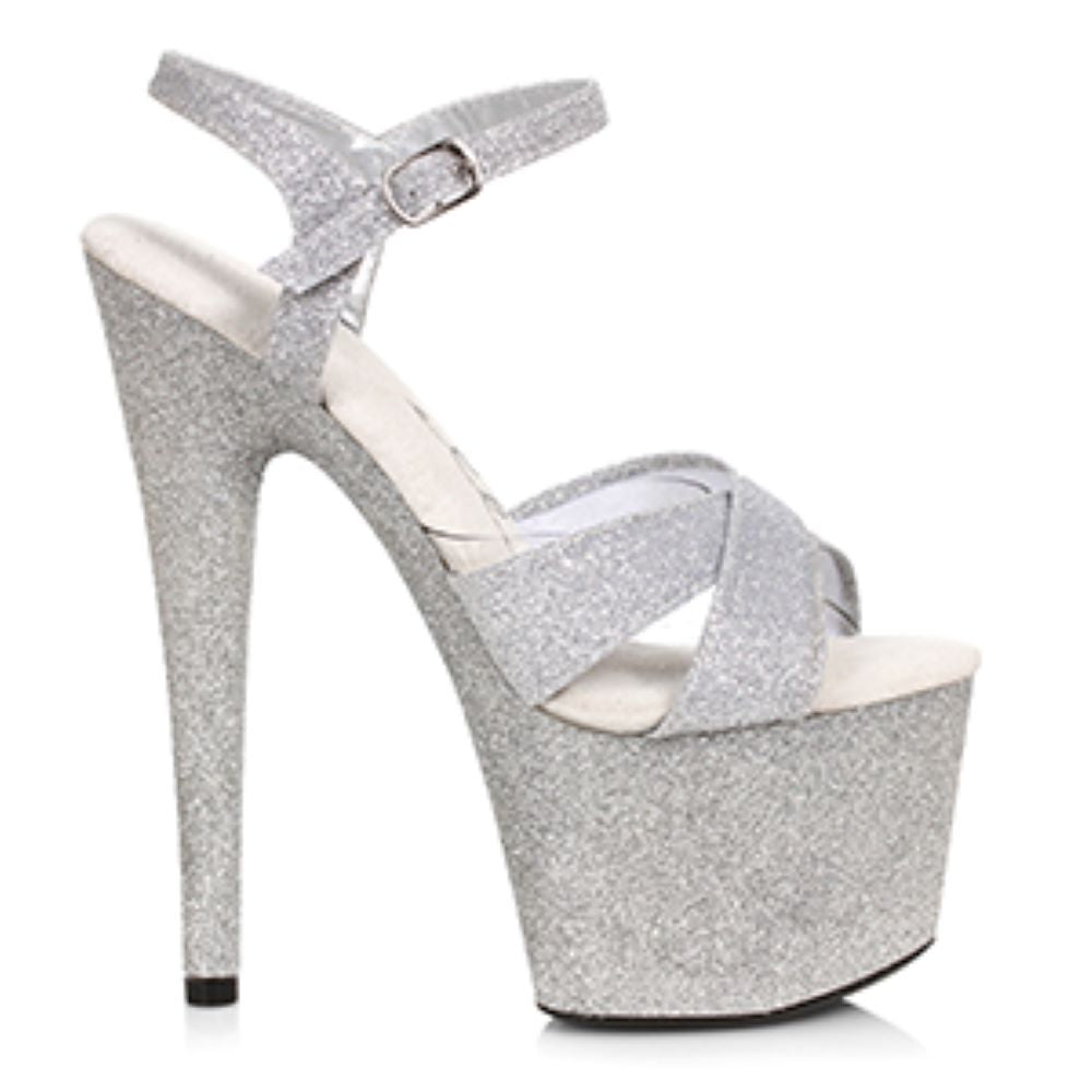 Silver Glitter Stripper Sandal With 7 Inch Stiletto Heel