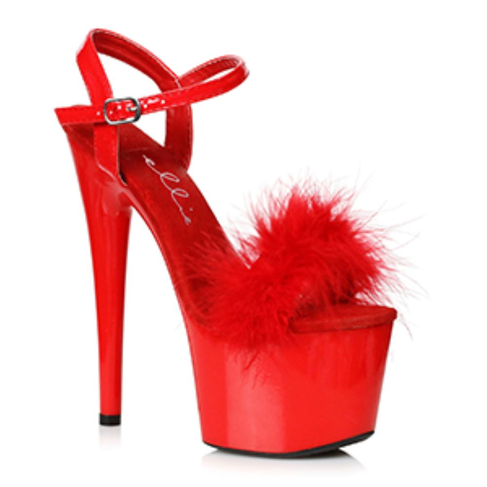Red Marabou Vamp Platform Sandal 7 Inch Heels Stripper Shoes