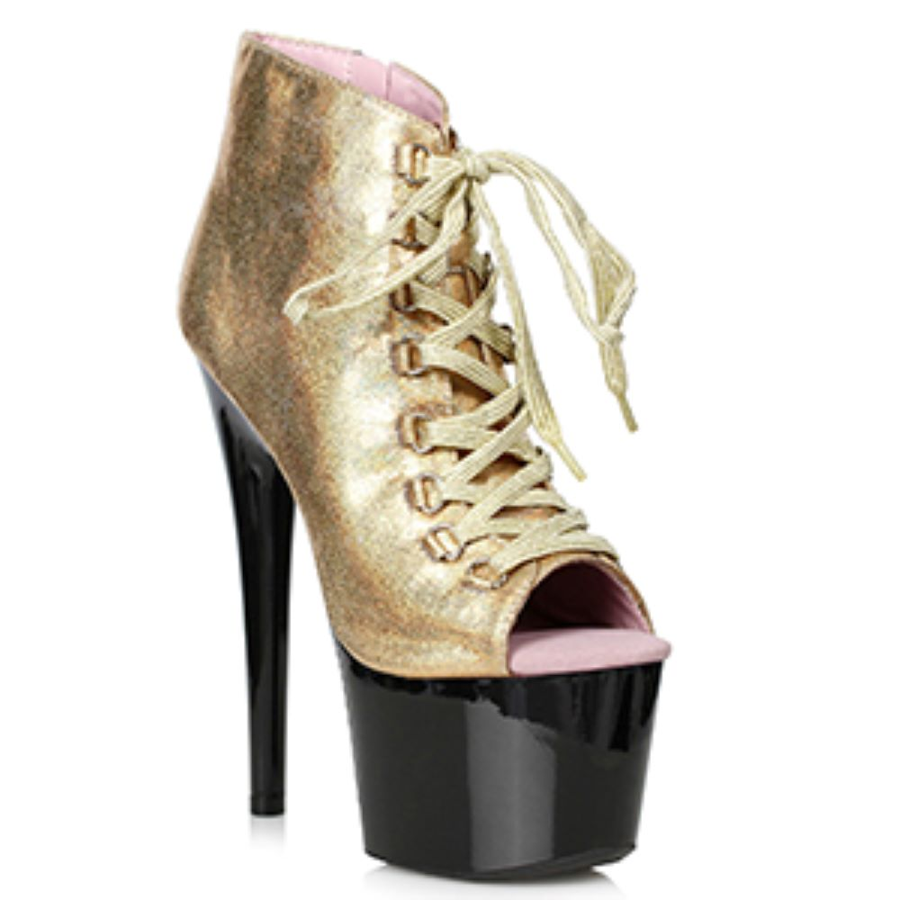 Gold Shimmer Ankle Bootie Miami Clubbing Bootie