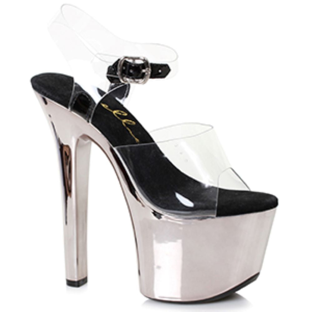Chrome Platform Stripper Sandal 7 Inch Stiletto Heel