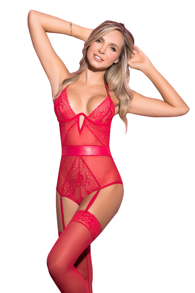 Sexy Red Teddy Lingerie