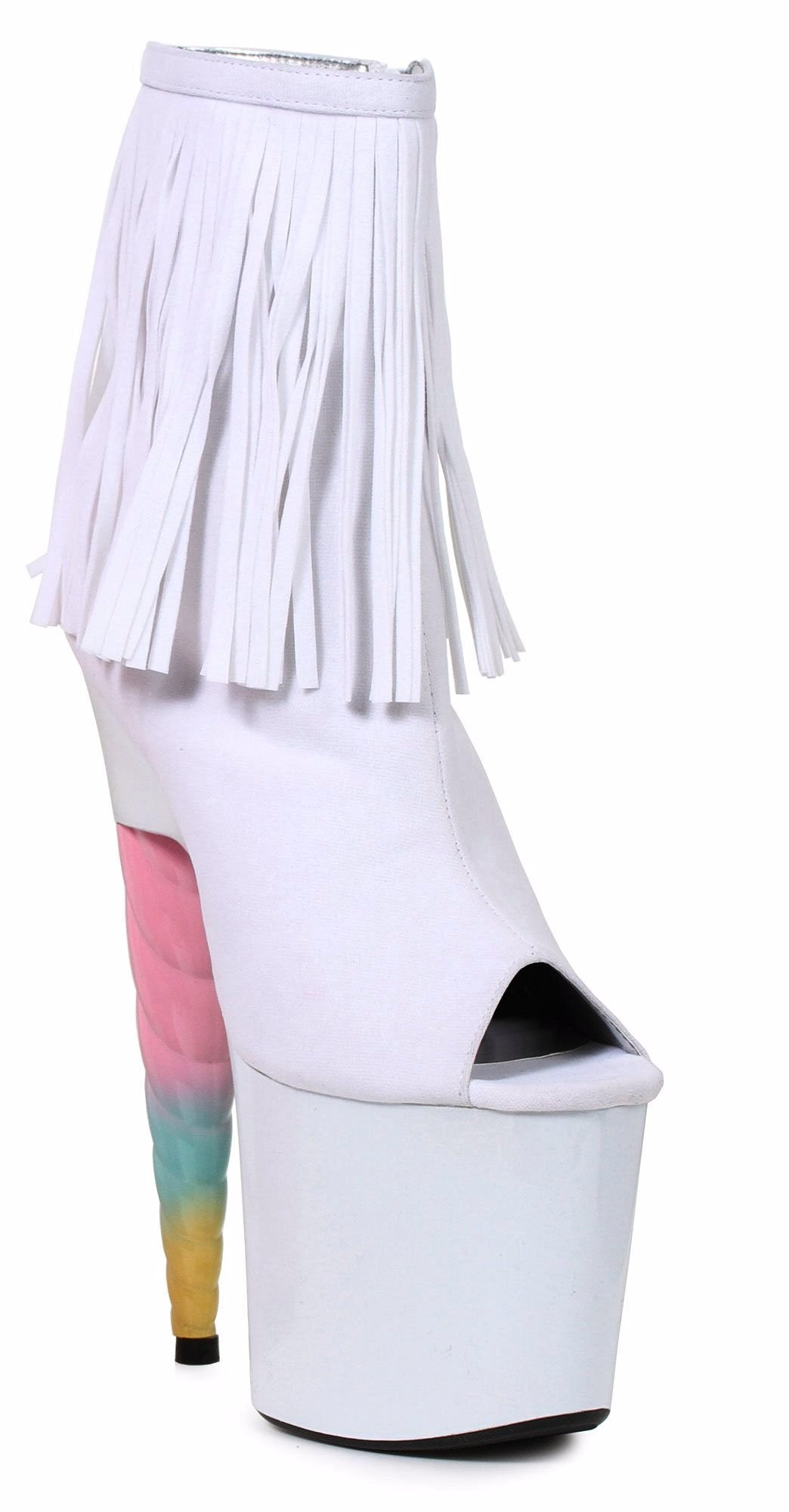 da5ea05d943 White 7 Inch Unicorn Heel Platform Ankle Boot With Fringe-Stripper Boots