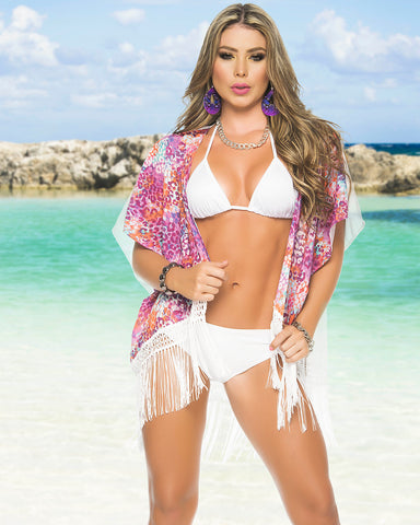 Sassy Fringed Beach Kimono-Swimwear Cover Up