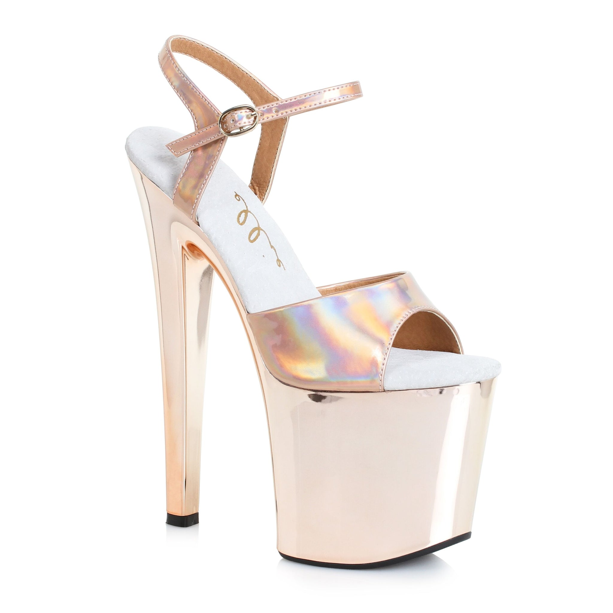 9f17424f09f Gold Ankle Strap Sandals Comes With 8 Inch Stiletto Heel Stripper Shoe