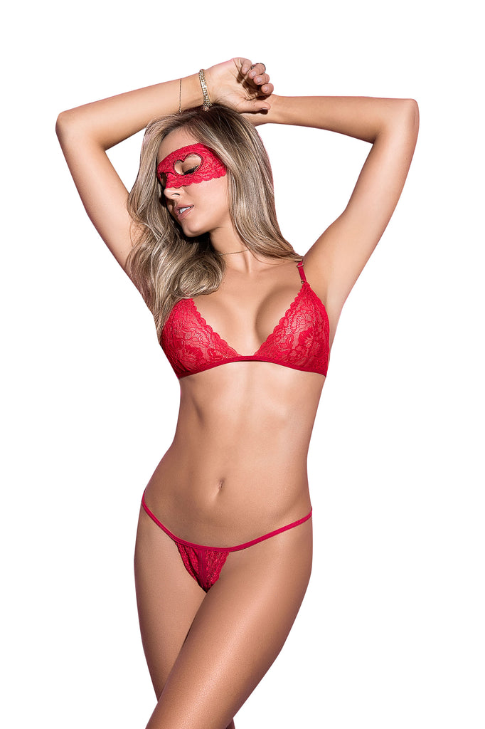 Sexy Red Three Piece Lingerie Set