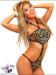 Leopard Diamond Pole Dancers One Piece Suit