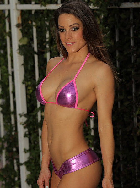 Metallic Basic Triangle Bikini Top Stripper Clothing