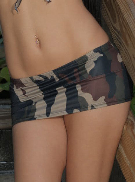 Camouflage Print Pole Dancers Mini Skirt
