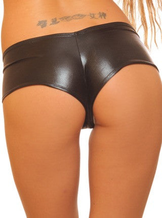 Black Metallic Basic Pole Dancewear Booty Shorts