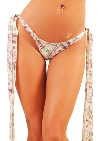 Money Print Long Ribbon Tie Side Brazilian Thong