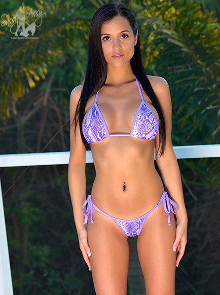 Rich Purple Color Snake Skin Design Bikini