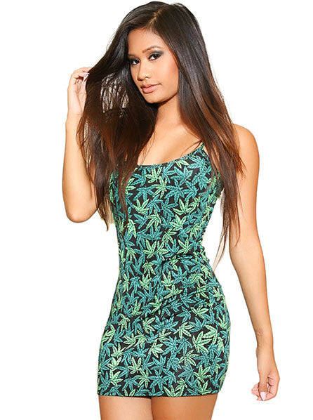 Marijuana Print Mini Dress