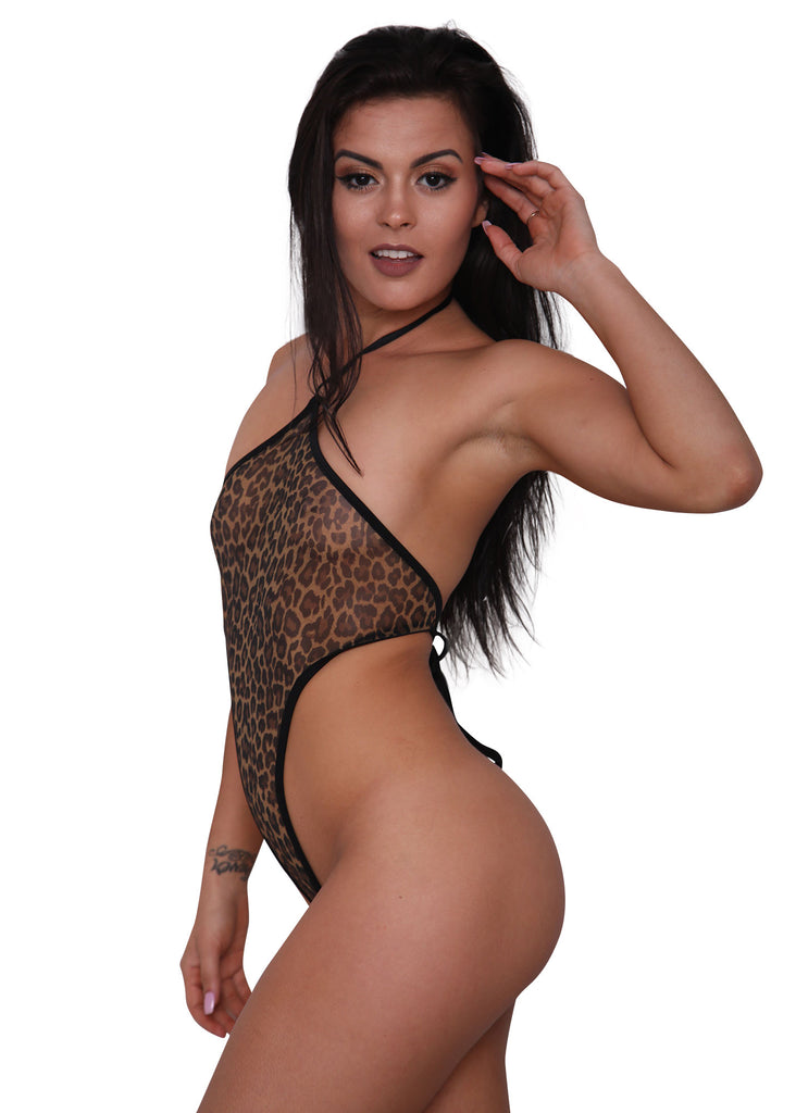 Sheer Leopard Print Mesh Monokini - Sheer Clothing