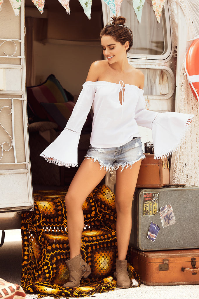 White Cold Shoulder Summer Top