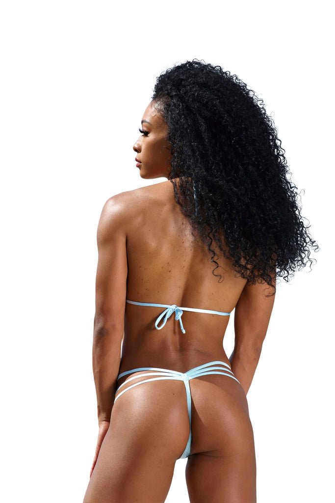 Baby Blue Low Rise Triple Band V Thong