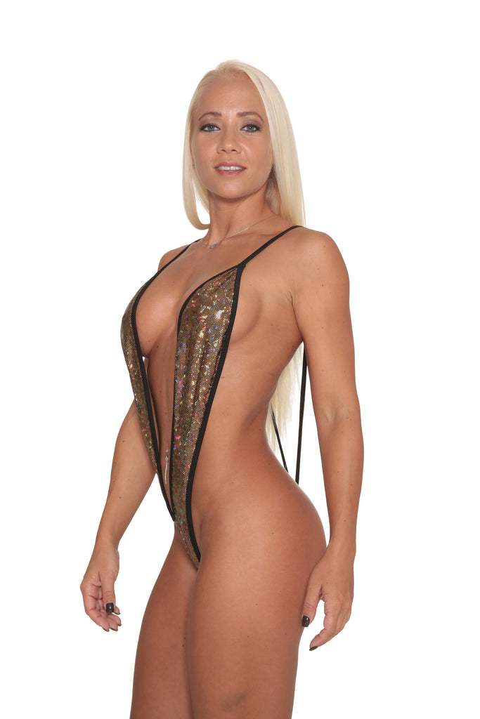 Black Gold Hologram-Black Trim Slingshot Bikini-Stripper Clothing