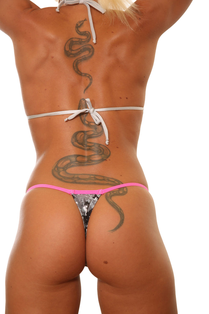 Camo Print Low Rise Stripper Thong