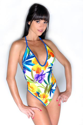 SEXY COLORFUL FLOWER PRINT BODYSUIT