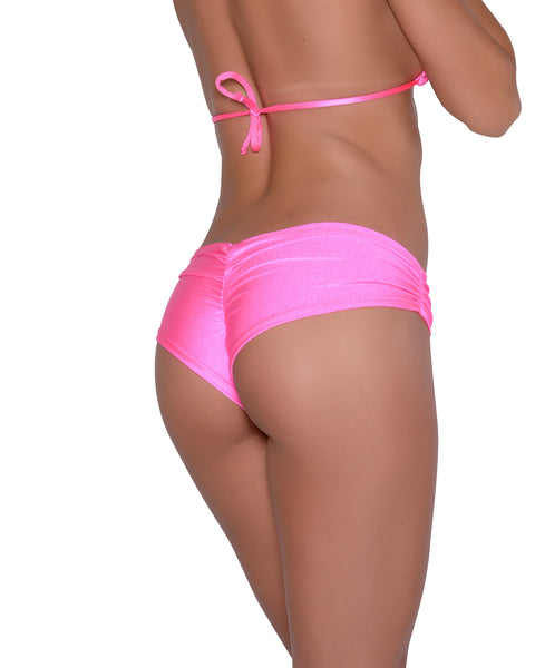 Neon Pink Scrunchie Booty Short Stripper Clothing