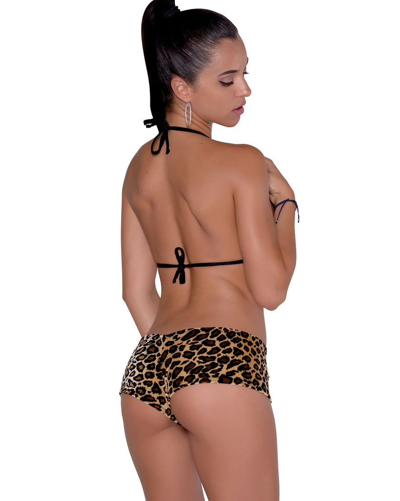 Leopard Velvet Booty Shorts Stripper Clothing