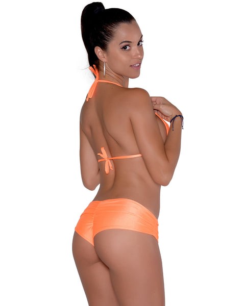 Neon Orange Scrunchie Booty Short