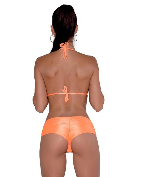 Neon Orange Scrunchie Booty Short Stripper Clothing