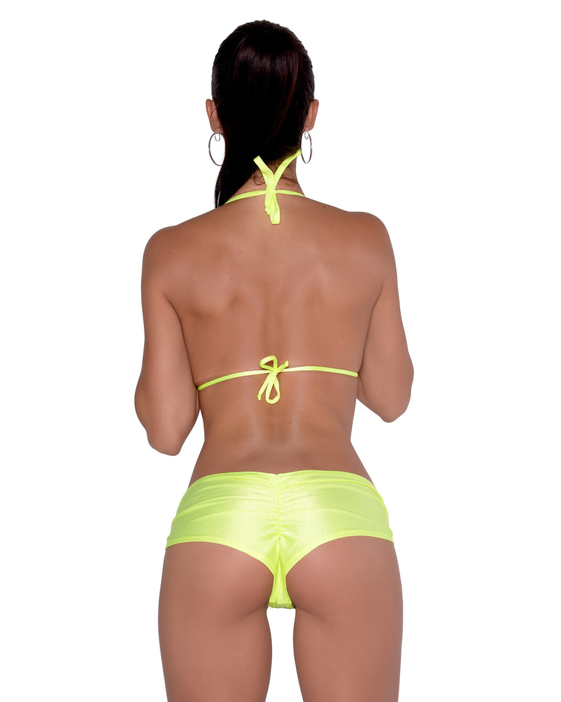 Neon Yellow Scrunchie Booty Short Stripper Clothing
