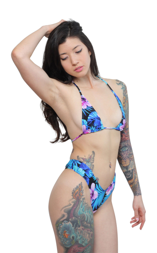 Floral High Cut Cheeky Bikini Set-Sassy Assy